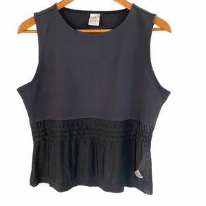 Adidas black sleeveless sheer bottom crop top Lg
